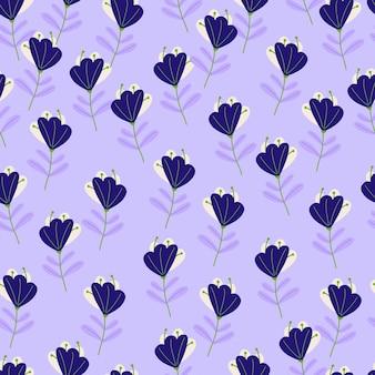 Modello senza cuciture di elementi di fiori doodle blu navy a contrasto