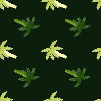 Modello senza cuciture a contrasto con forme di palme verdi scarabocchiate. sfondo scuro. stampa della natura semplice.