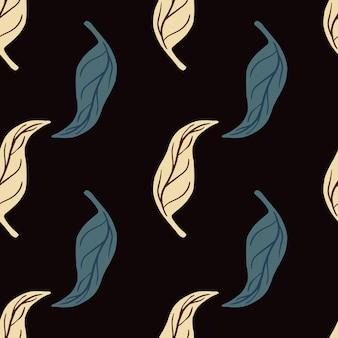 Motivo senza cuciture a contrasto con forme naturali di foglie di mandarino blu e beige