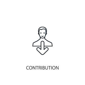 Icona della linea del concetto di contributo. illustrazione semplice dell'elemento. disegno di simbolo di contorno del concetto di contributo. può essere utilizzato per ui/ux mobile e web