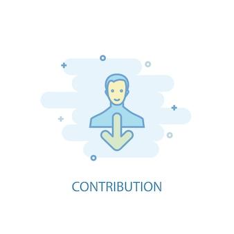 Concetto di linea di contribuzione. icona della linea semplice, illustrazione colorata. simbolo di contributo design piatto. può essere utilizzato per ui/ux