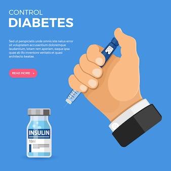 Controlla il tuo concetto di diabete con la siringa della penna per insulina della tenuta della mano.