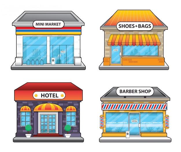 Illustrazione della costruzione dell'hotel e del negozio di barbiere del negozio di alimentari
