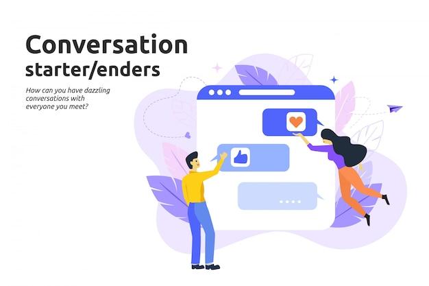 Inizio conversazione e concetto di iniziatori. vettore piatto moderno