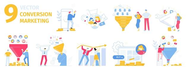 Marketing di conversione attrarre nuovi clienti cliente che acquista prodotti online set vettoriale