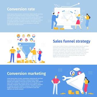 Tasso di conversione attrazione del sito e-commerce nuovi clienti clienti che acquistano nuovi prodotti banner vettoriali
