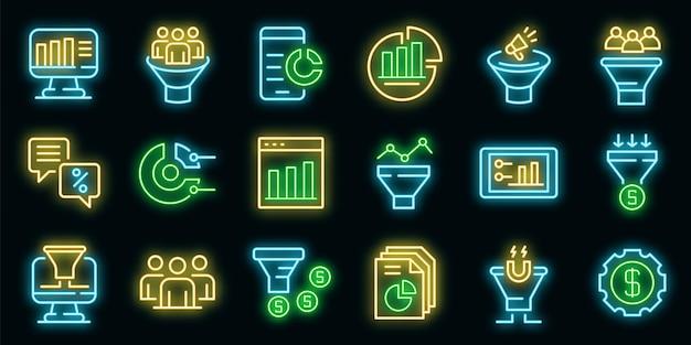 Set di icone di tasso di conversione. delineare l'insieme delle icone vettoriali del tasso di conversione colore neon su nero