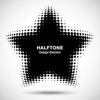 Elemento di design emblema logo convesso astratto nero distorto a forma di stella punti mezzatinta per lo sfondo del modello di nuova tecnologia. illustrazione