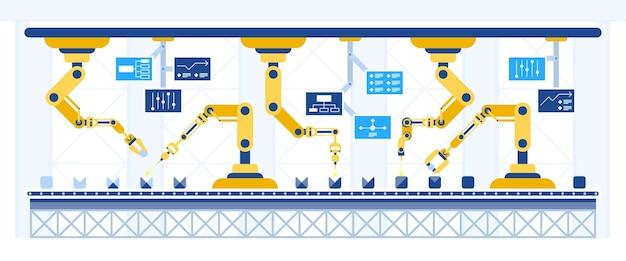 Automazione del nastro trasportatore rivoluzione industriale concetto iot intelligente tecnologia di processo di assemblaggio