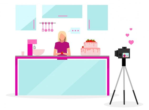 Cook blogger illustrazione vettoriale piatta. filmmaker, vlogger, influencer in streaming video. dolciumi, video tutorial sulla panetteria. contenuto di vlog sui social media.