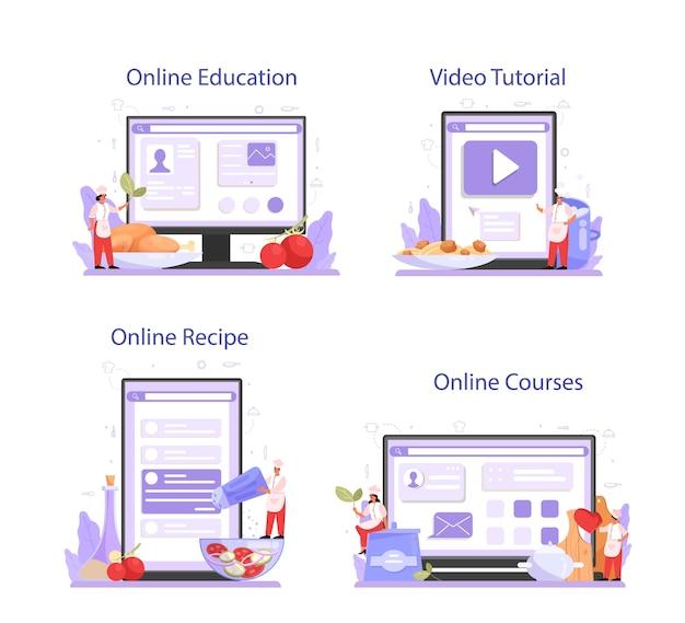 Servizio online o set di piattaforme per cuoco o specialista culinario.
