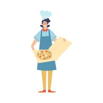 Cuoco o fattorino del ristorante con l'illustrazione piana di vettore della pizza isolata