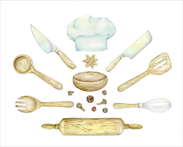 Cappello da cuoco, in legno, spatola, cucchiaio, mattarello, coltello, frusta. insieme dell'acquerello di articoli da cucina.