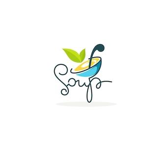 Cuocere la zuppa, modello di logo vettoriale con immagine di ciotola di cartone animato, sagoma di cucchiaio e foglie verdi