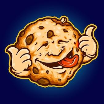 Cookie biscuit delicious cartoon mascot illustrazioni vettoriali per il tuo lavoro logo, t-shirt di merce mascotte, adesivi e design di etichette, poster, biglietti di auguri pubblicitari società o marchi.