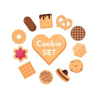 Collezione di icone di biscotti e biscotti isolati su priorità bassa bianca. deliziosi biscotti fumetto illustrazione cibo dolce. Vettore Premium