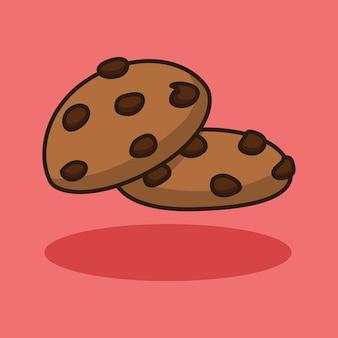 Disegno di illustrazione di biscotti con topping al cioccolato dolce