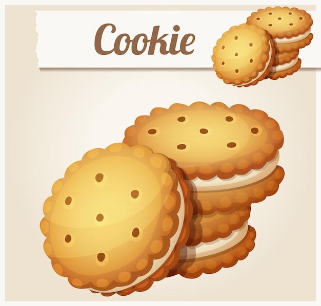 Cookie con icona vettoriale dettagliata crema bianca