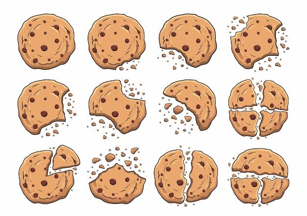 Cartoon illustrazioni di biscotti al cioccolato