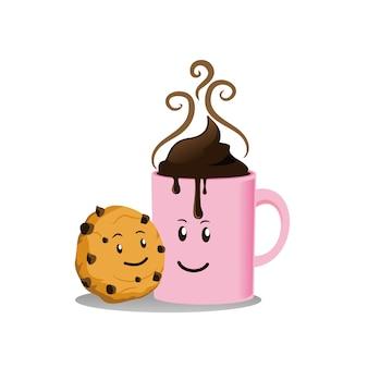 Biscotti e bevanda al cioccolato