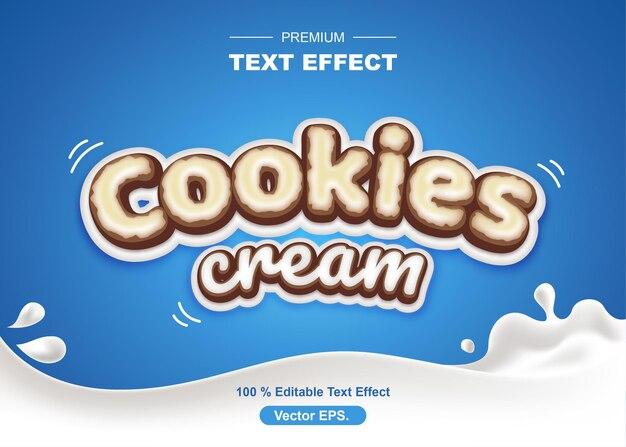 Cookie e crema effetti di testo modificabili