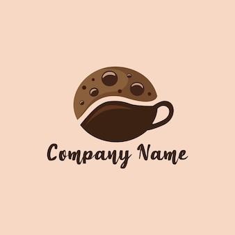 Modello di progettazione del logo della tazza di biscotti