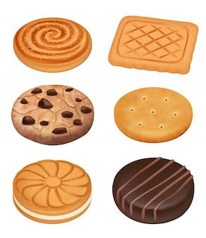 Biscotti. delizioso cibo dessert dolci biscotti cremosi con cioccolato sbriciola pezzi cracker collezione realistica