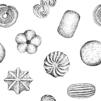Modello di progettazione del fondo del modello dei biscotti senza cuciture. illustrazione in bianco e nero d'epoca.