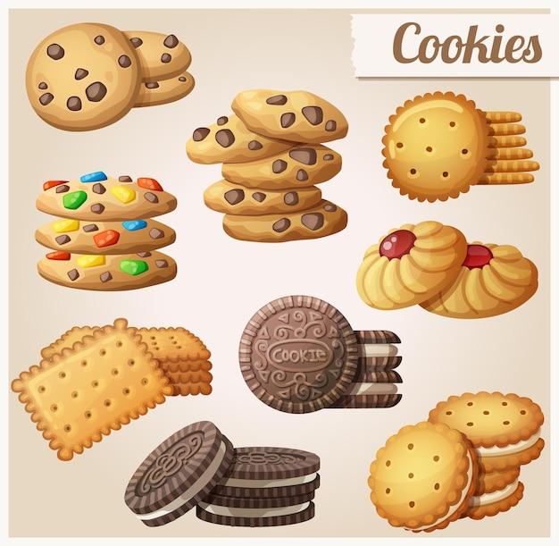 Set di cookie di icone vettoriali dei cartoni animati