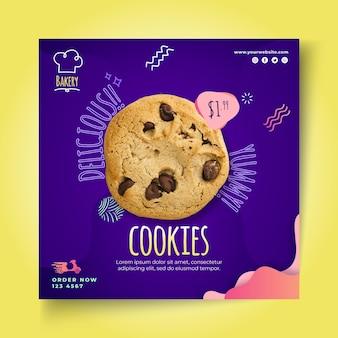 Modello di volantino quadrato di biscotti