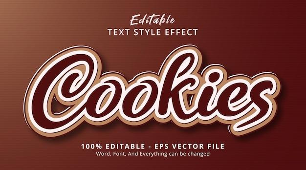 Testo dei cookie su un moderno modello di effetto stile marrone, effetto testo modificabile edit