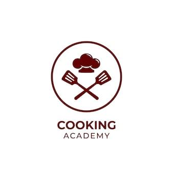 Modello di logo dell'accademia di cucina, icona del logo del corso di scuola di chef con spatola e cappello da chef