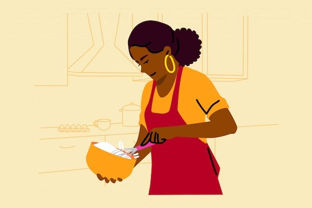 Cucinare, cuocere al forno, hobby, cibo, concetto di preparazione
