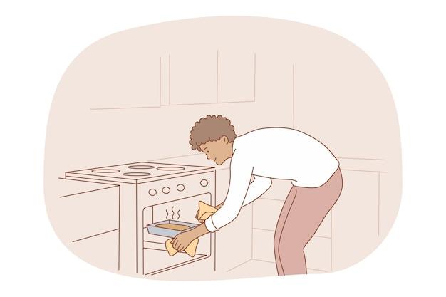 Cucina, cottura al forno, concetto di ricetta. personaggio dei cartoni animati di giovane uomo sorridente mettendo torta o torta fatta in casa