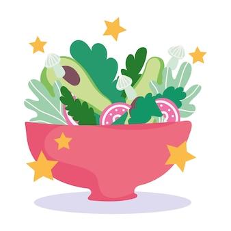 Cucina, ciotola con insalata di verdure fresche, illustrazione di stile del fumetto