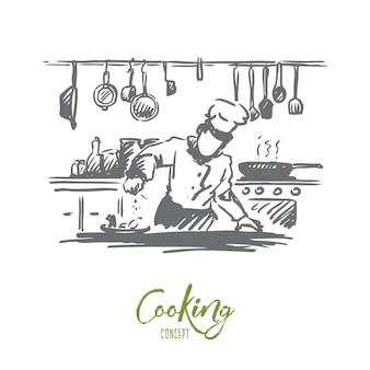 Cucina, chef, cibo, concetto di pasto. cuoco unico disegnato a mano che prepara il piatto nello schizzo di concetto del ristorante.