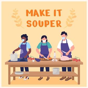 Mockup di post sui social media per lezioni di cucina. rendilo una frase più zuppa. modello di progettazione banner web. booster di laboratorio culinario, layout di contenuti con iscrizione. poster, annunci stampa e illustrazione piatta