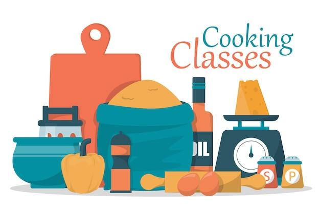 Illustrazione di progettazione di concetto di lezioni di cucina