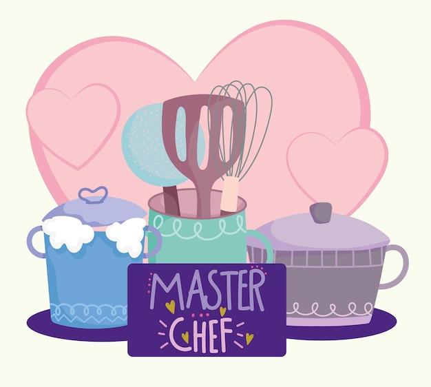 Cucina, pentola pentola posate in illustrazione di lettere in stile cartone animato