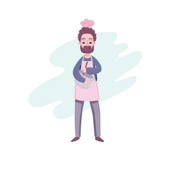 Papà in cucina. simpatico personaggio dei cartoni animati in un cappello da cuoco e un grembiule con una padella in mano sta preparando la cena.