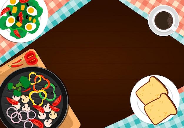 Illustrazione piana di cottura. tabella vista dall'alto con ingredienti alimentari.