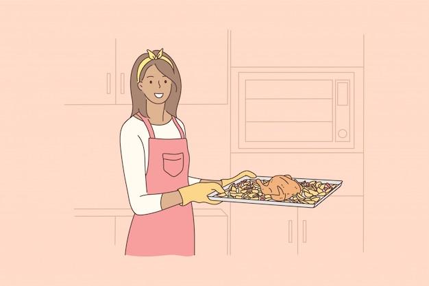 Concetto di cucina, cibo, hobby, lavoro domestico