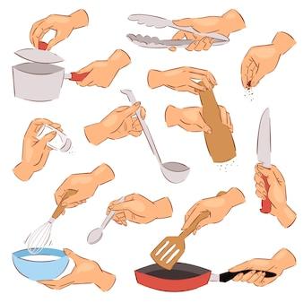 Cuoco unico delle mani di cottura che prepara alimento sulla padella facendo uso dell'insieme dell'illustrazione delle pentole o dell'articolo da cucina della mano con la ciotola o il coltello su fondo bianco
