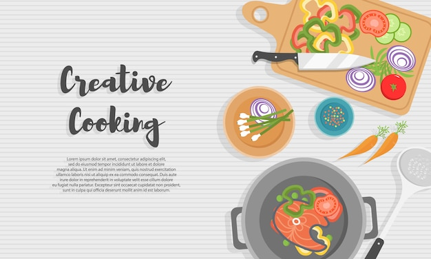 Cucinare cibi sani in cucina. pasto utile sul tavolo di legno. alimentazione sana, verdure. illustrazione di vista dall'alto dell'utensile da cucina, tagliere con coltello, piatti, piatti e cibi diversi.