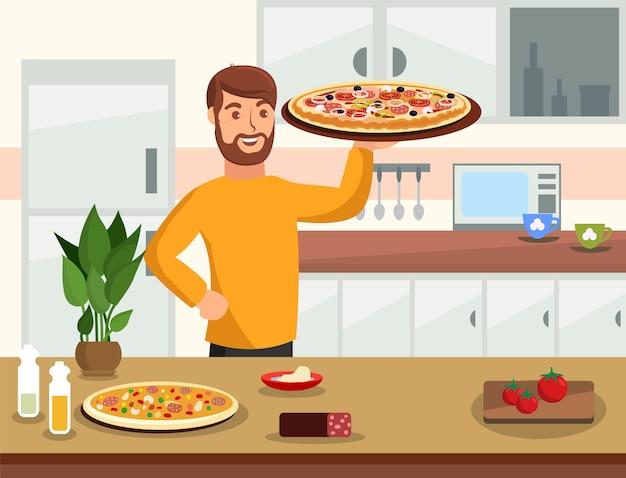 Cucinando a casa illustrazione vettoriale fumetto piatto Vettore Premium