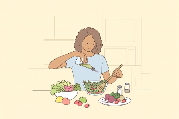 Cucina, fame, cibo, salute, concetto di cura vegetariana