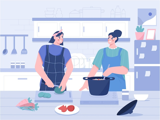 Cucinare in cucina illustrazione piatta