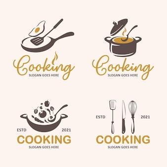 Collezione di modelli di logo di cucina vettore premium