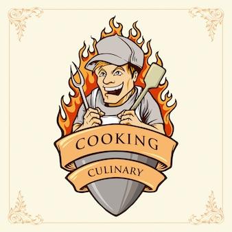 Illustrazioni di sorriso del cuoco unico dell'uomo di cottura con il nastro