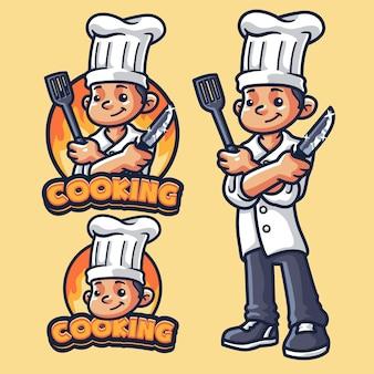 Modello di logo mascotte di cucina